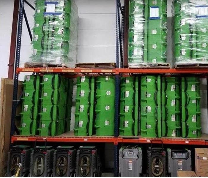 SERVPRO drying equipment stacked in storage facility