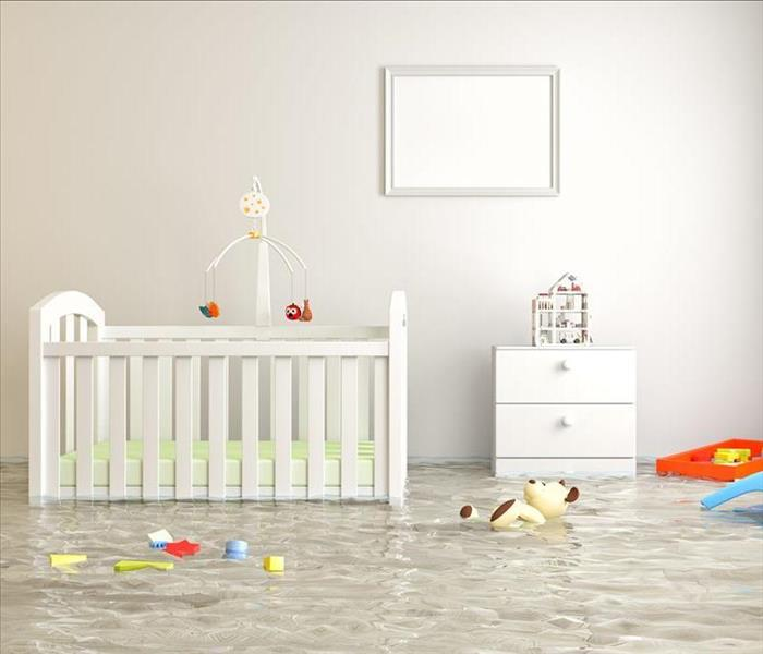 flooded baby bedroom, crib, toys floating