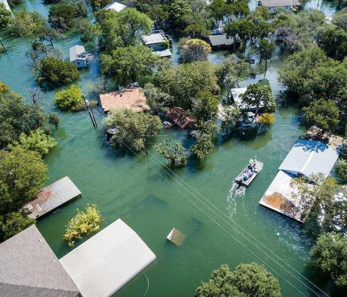 Homes in floodwaters